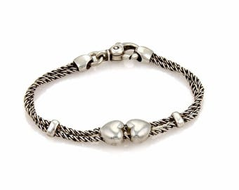 17077 - Tiffany & Co. Sterling Silver Hearts Double Cable Slide Rope Bracelet
