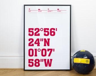 Nottingham Forest Football Stadium Coordinates Posters