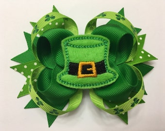 St. Patrick's Day Hat Felt Layered Hairbow