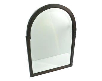 Antique Framed Tombstone Shaped Mirror, Beveled Glass Framed Mirror