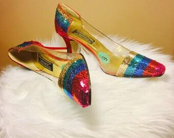Vintage J. Reneé Rainbow Sequins Plastic Heels