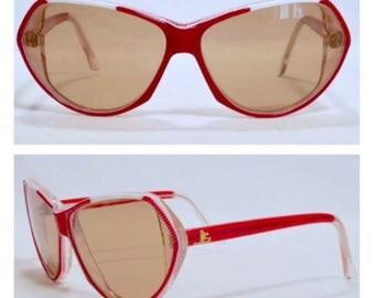 Vintage Jean Louis Scherrer Red Sunglasses, Made in France