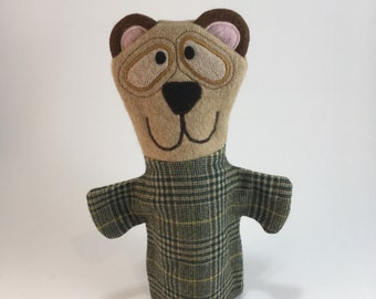 Bear Puppet-- Made from felted wool sweaters--Free Shipping!