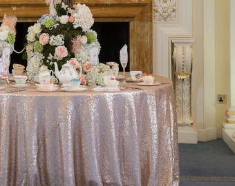 Blush Sequin Tablecloth, Round Sequin Tablecloth, Sparkle Tablecloth, Glitter Table Cover, Wedding Tablecloth, Candy Table, Cake Tablecloth