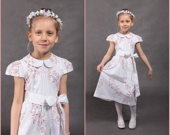 Ready to ship Girl dress Wedding dress Wedding girl dress Flower girl dress White girl dress Junior bridesmaids dress Wedding girl gown
