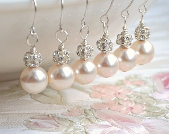 Blush Pearl Earrings Bridesmaid Earrings Blush Creamrose Swarovski Pearl Earrings Bridesmaid Gift Pink Earrings Weddings Earrings ear.00765