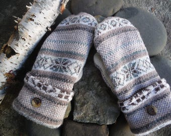 Cozy Sweater Mittens, made from upcycled recycled sweaters, fleece lined, so warm and cozy