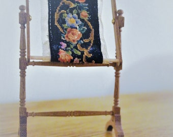Dollhouse Miniature Petit Point on Needlework Stand--Updated. Free Shipping