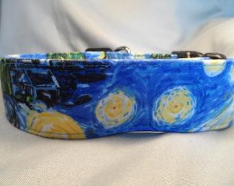 Van Gogh Starry Night Fabric Dog Collar, 1.5 inch Wide Dog Collar