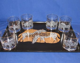 COUROC of MONTEREY ZEBRA Set Includes Tray and 6 Glasses