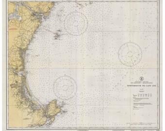 Portsmouth, NH to Cape Ann, MA - 1933 Nautical Map - Reprint 80000 AC - Chart 1206