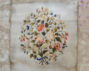Wonderful Antique Silk Embroidery Panel