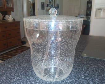 SALE Clear Lucite with Bubbles Ice Bucket includes Tongs