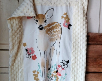Fawn Lovey, Small Baby Blanket, Woodland Baby Lovey, Small Woodland Blanket, Baby Girl Snuggly, Security Blanket