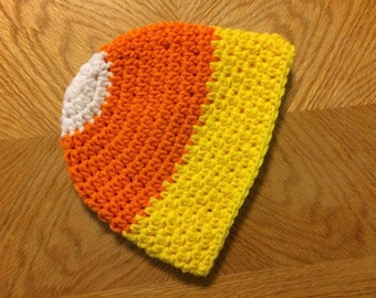 Halloween CANDY CORN Hat, Ready to Ship, size 6-12 months, crochet baby hat, Photo Props, Shower Gift, halloween costume, Reduced, on sale