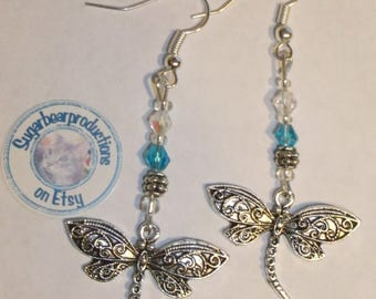 Silver Dragonfly Earrings with Blue and clear glass crystals, dangle-2mm metal spacers, French hooks, sugarbearproductions,  gift wrapped