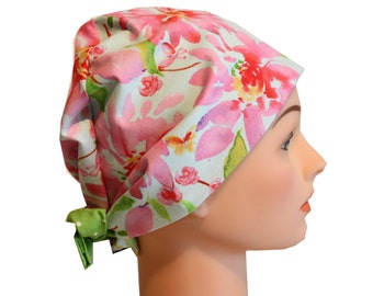 Scrub Hat Surgical Scrub Cap Chemo Chef Vet Nurse Dr Hat European Style Pixie Pink Floral Green Blue 2nd Item Ships FREE