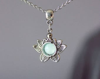 Lotus Necklace Silver Flower Necklace Lotus Flower Necklace  Silver Flower Pendant Lotus Jewelry Charm Opal Necklace Dainty Necklace Flower