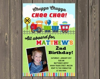 Train Birthday Party Invitation, Boys Train Birthday Invitation, Train Birthday Photo Invitation, 1st 2nd 3rd Any Age, Printable or Printed
