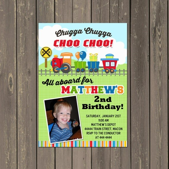 Train Birthday Party Invitation Boys