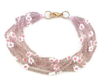 Seed bead bracelet,Multi strand daisy flower colourful bracelet