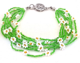Flowers bracelet,Multi strand seed beads daisy flower colourful bracelet