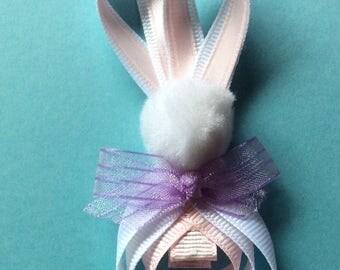 Grosgrain Easter Bunny Ribbon Sculpture Hair Clip