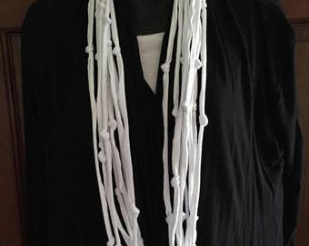 T-shirt Infinity Upcycled Fabric White knotted T-shirt Necklace Statement  Handmade