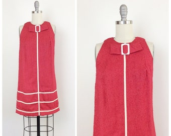 60s Red & White Linen Shift Dress / 1960s Vintage Cotton Day Dress / Medium / Size 6