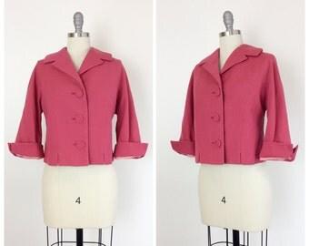 50s Pink Wool Jacket / 1950s Vintage Suit Jacket Coat / Large / Size 10