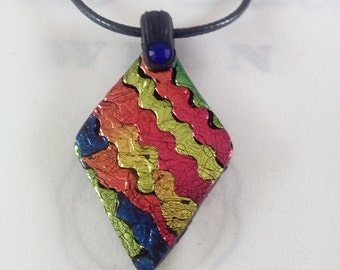 Multi coloured metallic foil diamond shaped polymer clay pendant/necklace