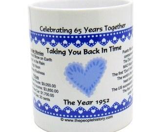 1952 65th Anniversary Mug - Celebrating 65 Years Together