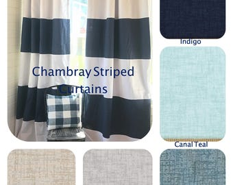 1 Pair of Chambray and White Striped Curtains, Window Treatments, Stripes, Color Blocked, Nautical , Nursery Curtains, Denim Curtains