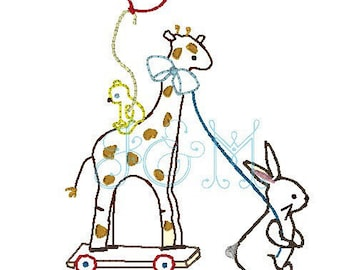 Baby Giraffe and Bunny Vintage Stitch Embroidery Design