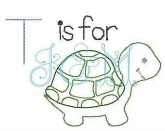 T is for Turtle vintage stitch sketch embroidery design