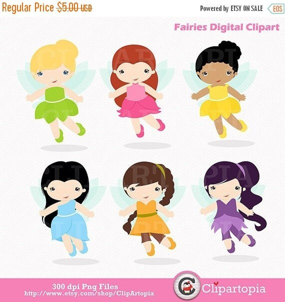 50% OFF SALE Fairies Digital ClipArt / Fairy Digital Clip art / Cute Fairies For Personal and commercial use/ Instant Download