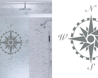 compass rose diy etched glass vinyl window film privacy shower door bathroom