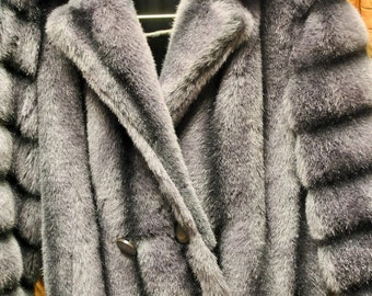 Vintage Jacques Saint Laurent Grey Faux Fur Coat Size Medium