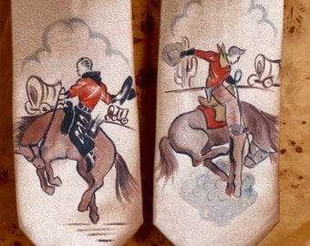 Vtg style handpainted 40's 50's style silk tie! Vintage cowboys! Rodeo! Bucking Bronco!