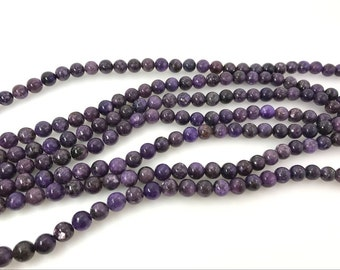 "4mm Round Genuine Natural Lepidolite Drilled Beads Loose Beads Pack 5 Beads - 15""L 38cm Full Strand Semiprecious Gemstone Wholesale Supply"