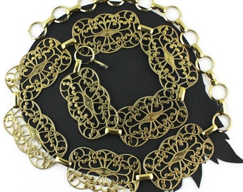 Vintage Gold Metal Chain Belt - 28 1/2 to 40 inches