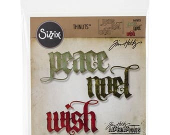 Sizzix Thinlits Tim Holtz Dies Set - VINTAGE TIDINGS 661605 Christmas tidings Peace Noel Wish cc56