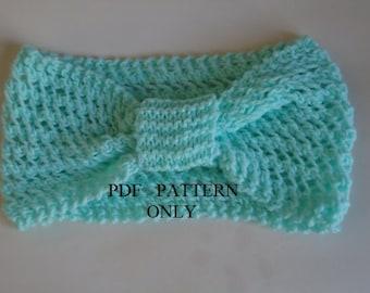 PDF pattern easy knit headband , PDF pattern 2 hours knit headband ,Instant download easy knit headband pattern