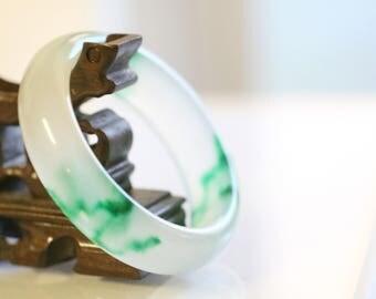 Vintage Jade Bracelet, Jade Asian Chinese Jewelry, Jade Bangle Bracelet. White Green Jade Bracelet Chinese Jade Bangle Bracelet Small Wrist