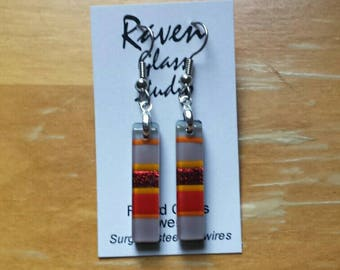 Red Fused dichroic glass earrings, Dichroic glass jewelry, Fused glass dangle earrings, EA249