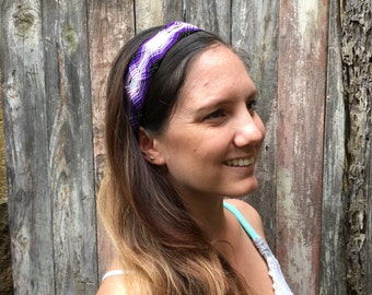 Mexican Authentic Macrame Friendship Headband-Purple (012H)