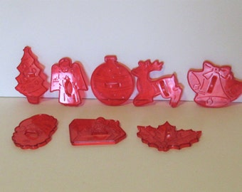 Set of 8 Red Christmas Cookie Cutters,  Hong Kong