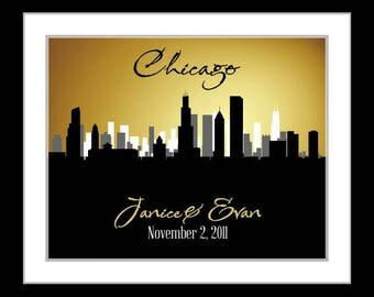 Chicago skyline, Chicago skyline wall art, personalized Chicago wedding gift, unique engagement gifts for sister wedding gift, custom art