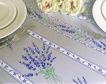 """72 - 120"""" Rectangle or Oval Laminated TableCloth Lavender in Silver Grey - Extra Wide up to 115"""" wild available -Umbrella Hole available"""