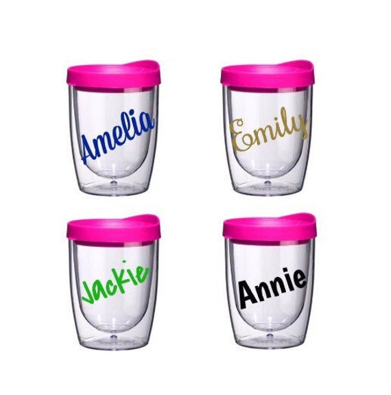 Acrylic Wine Glass Tumbler With Pink Lid Stemless Name